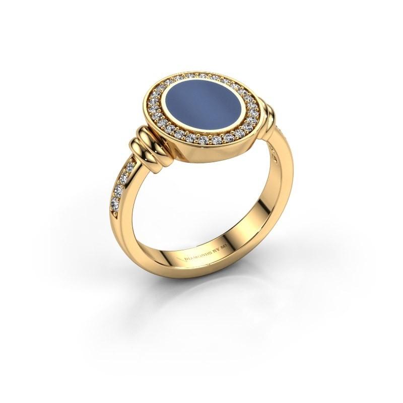 Zegelring Servie 1 585 goud blauw lagensteen 10x8 mm