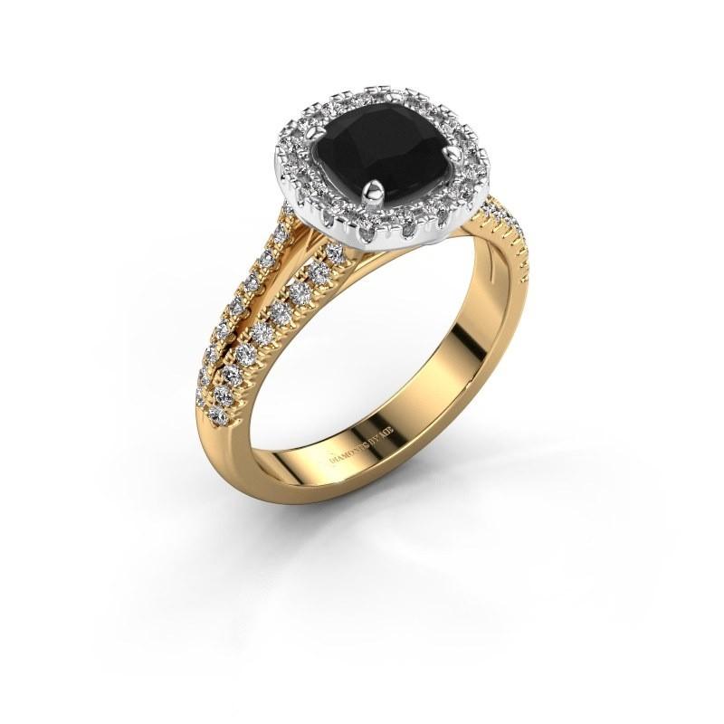 Verlovingsring Francesca 585 goud zwarte diamant 1.89 crt