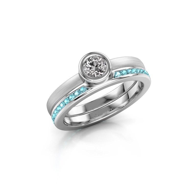 Ring Cara 585 white gold blue topaz 4 mm