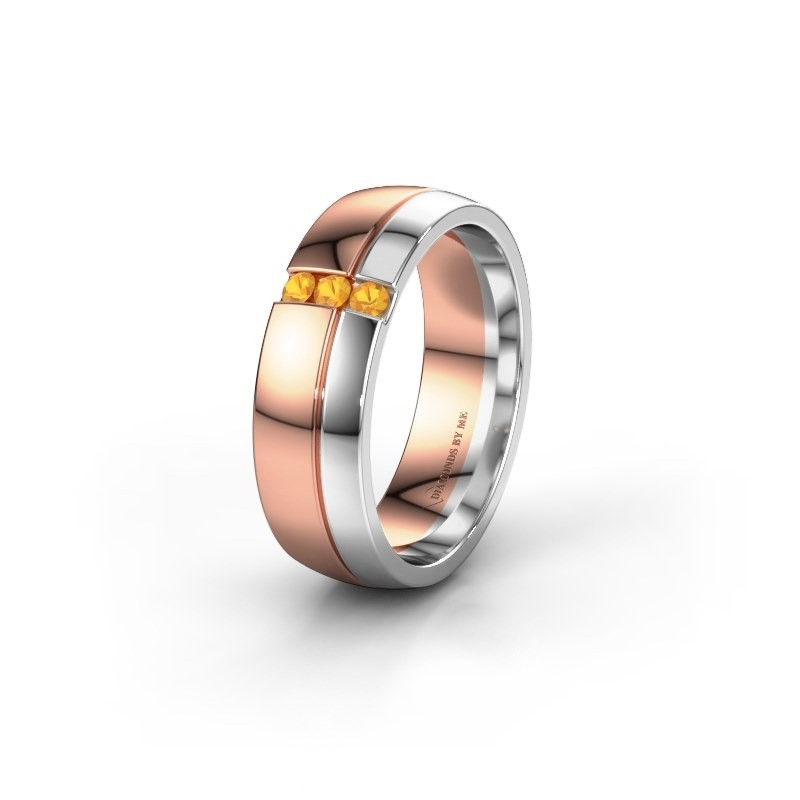Wedding ring WH0223L56A 585 rose gold citrin ±6x1.7 mm