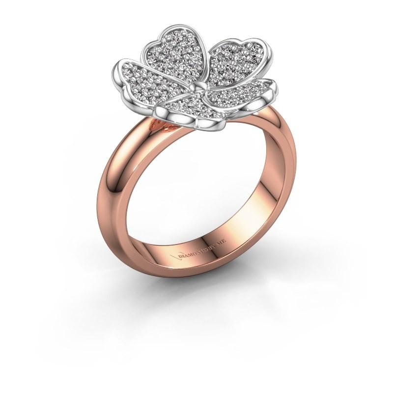 Bague Daphne 585 or rose diamant synthétique 0.450 crt