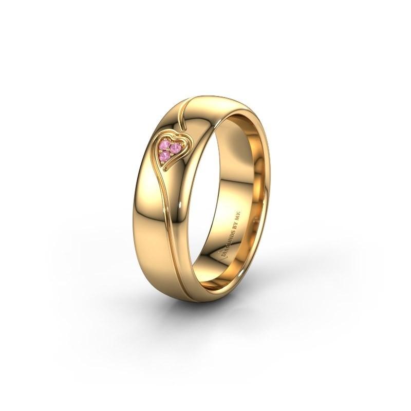 Trouwring WH0168L36AP 375 goud roze saffier ±6x1.7 mm