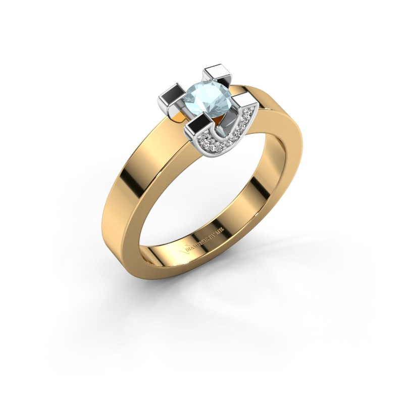Verlovingsring Jasmijn 1 585 goud aquamarijn 4.2 mm