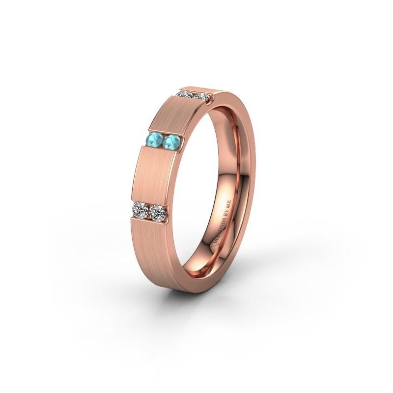 Wedding ring WH2133L14BM 375 rose gold blue topaz ±4x2.2 mm