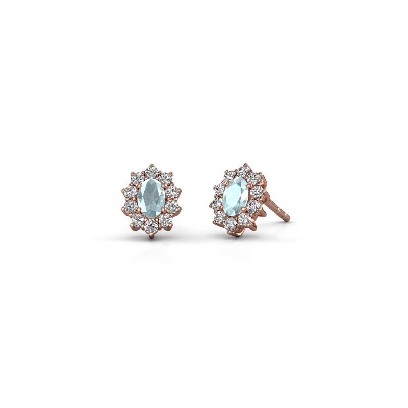 Earrings Leesa 375 rose gold aquamarine 6x4 mm