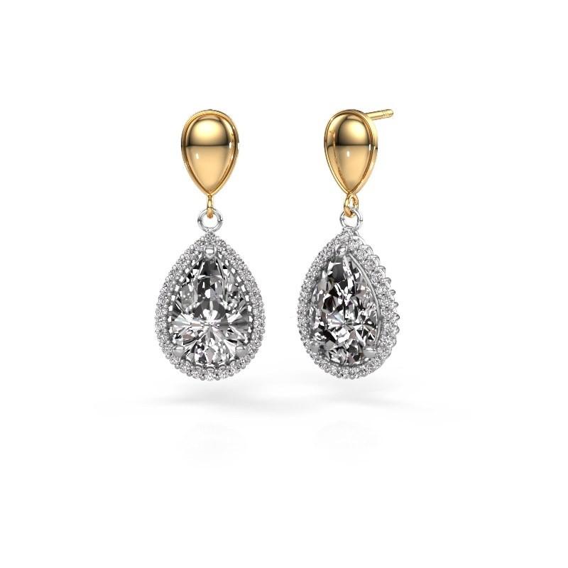 Oorhangers Tilly per 1 585 witgoud diamant 6.42 crt