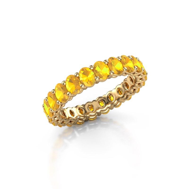 Aanschuifring Heddy OVL 3x4 375 goud citrien 4x3 mm