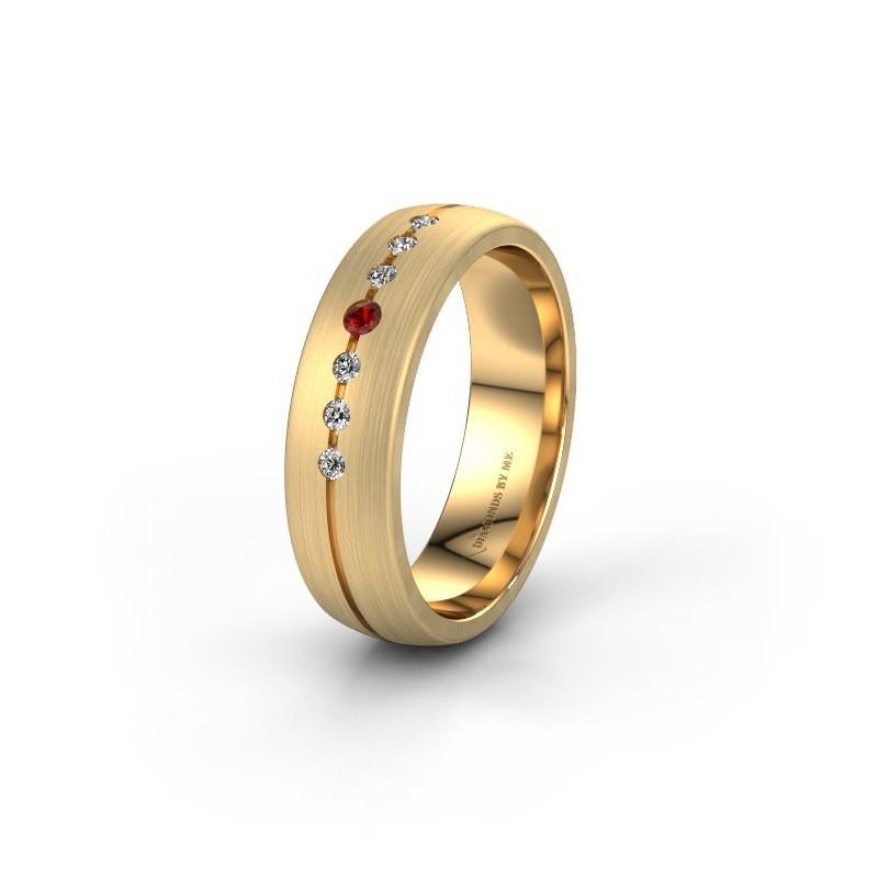 Wedding ring WH0162L25A 585 gold garnet ±5,5x1.7 mm