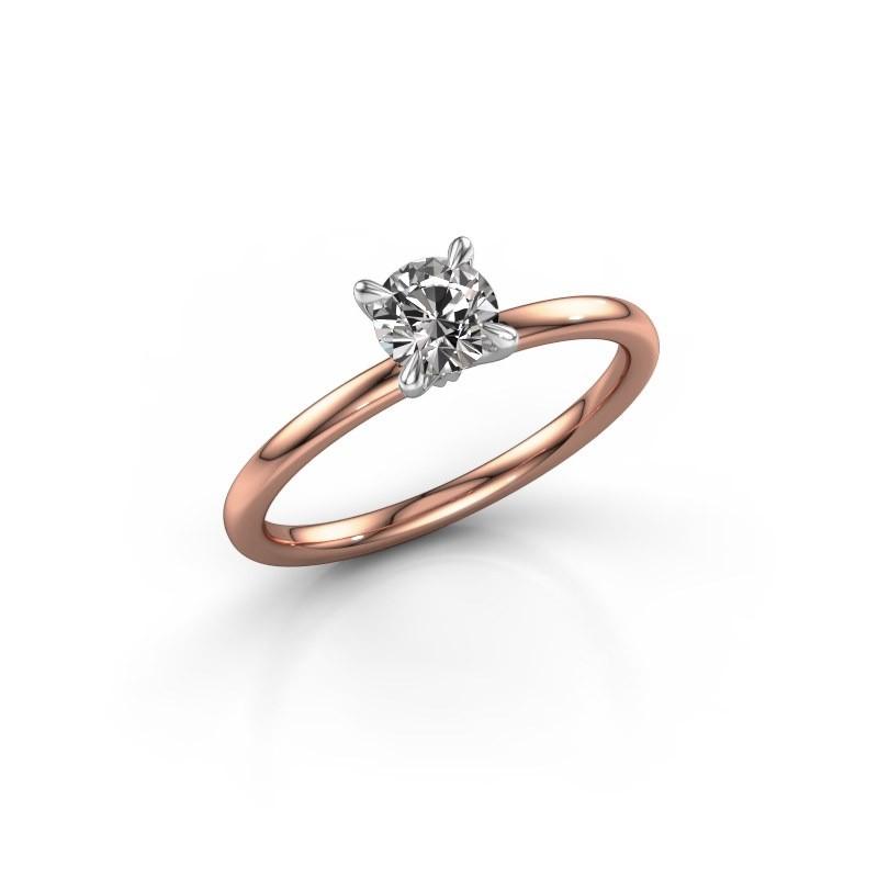 Verlovingsring Crystal RND 1 585 rosé goud zirkonia 5 mm