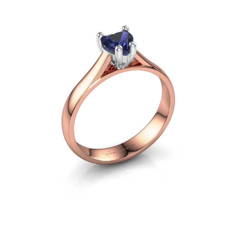Engagement ring Sam Heart 585 rose gold sapphire 5 mm