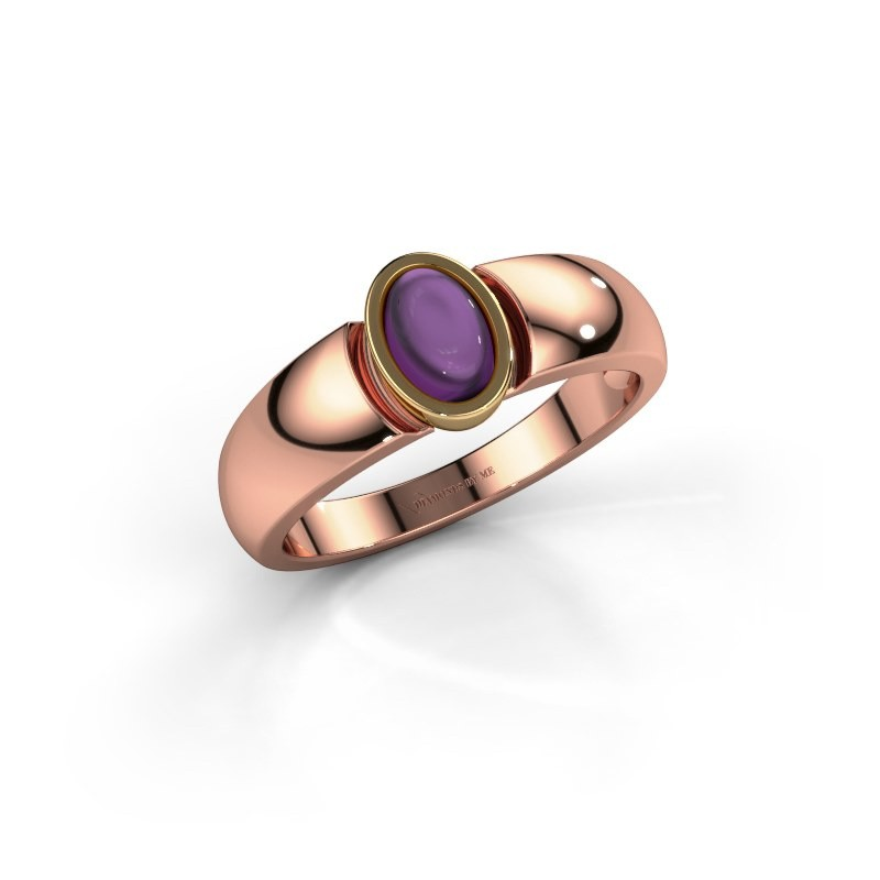 Ring Tonneke 585 rose gold amethyst 6x4 mm