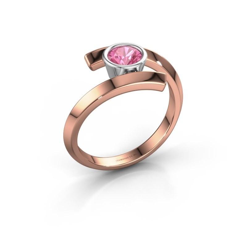 Ring Mara 585 rosé goud roze saffier 5 mm