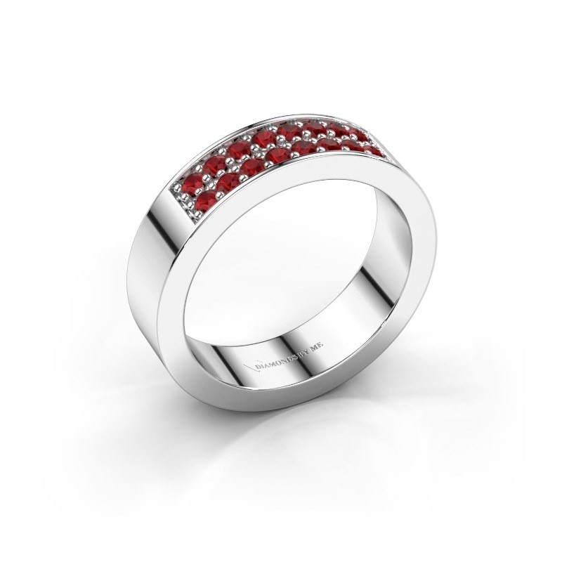 Stackable ring Catharina 5 925 silver ruby 1.7 mm