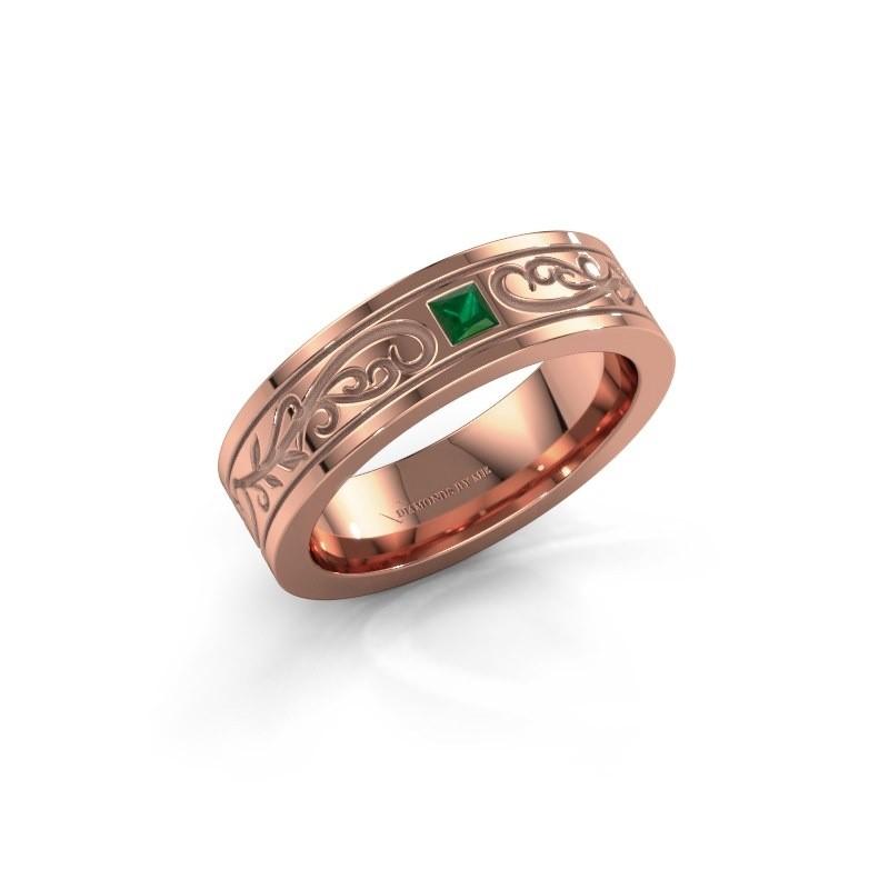 Heren ring Matijs 375 rosé goud smaragd 3 mm