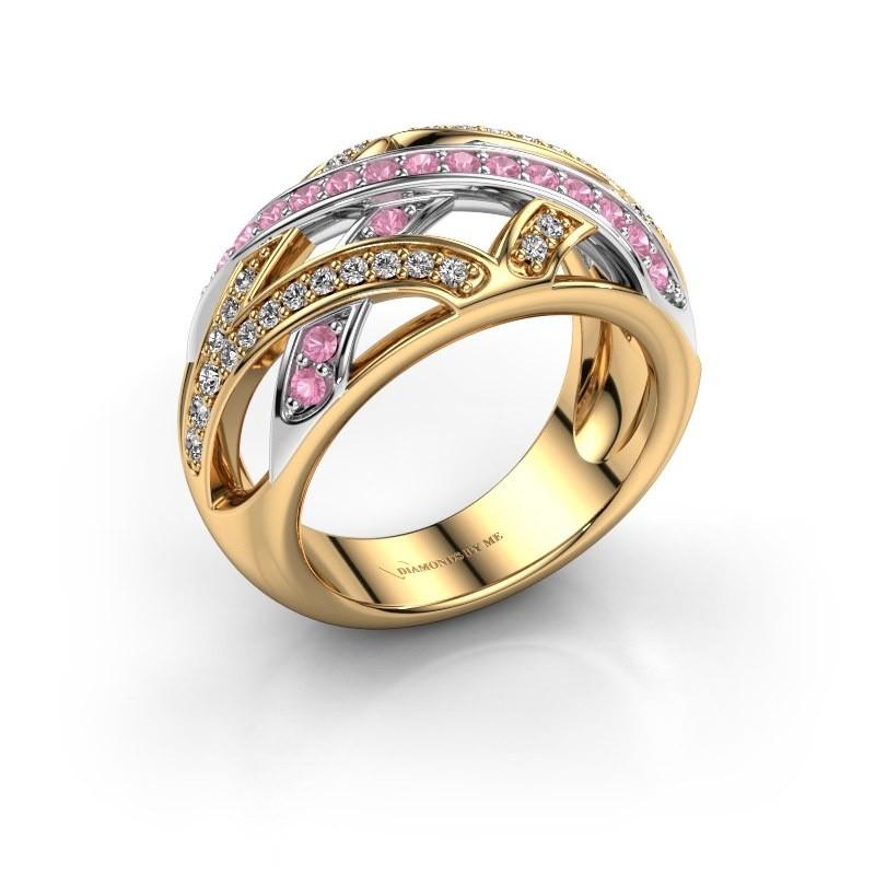 Ring Yinthe 585 goud roze saffier 1.5 mm