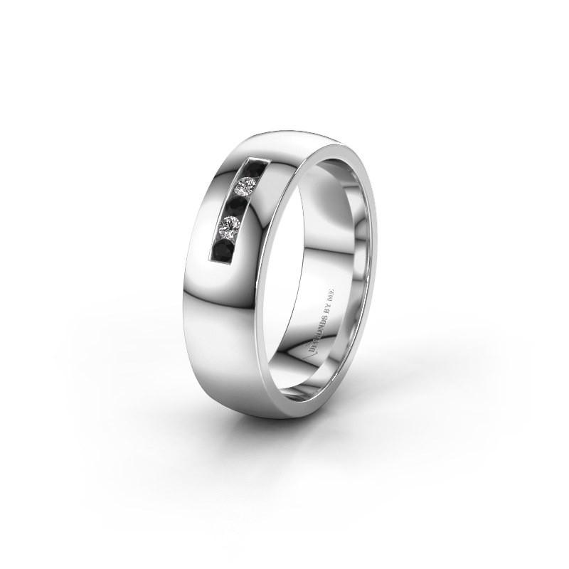 Ehering WH0107L26BP 375 Weißgold Schwarz Diamant ±6x2 mm