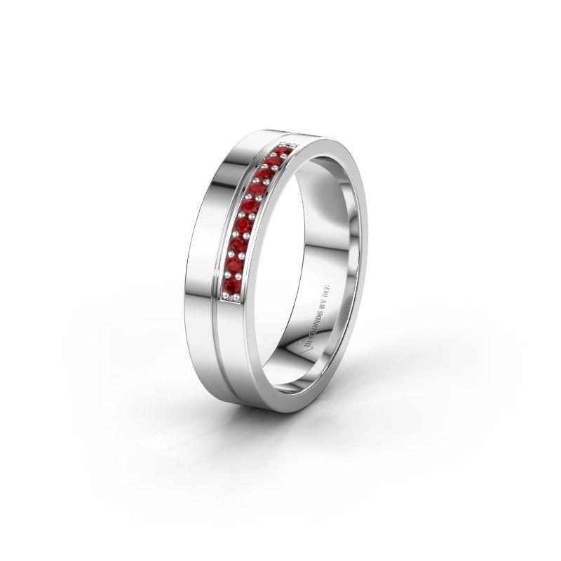 Wedding ring WH0213L15AP 950 platinum ruby ±0.20x0.07 in