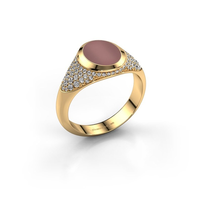 Pinkring Giovani 585 goud carneool 10x8 mm