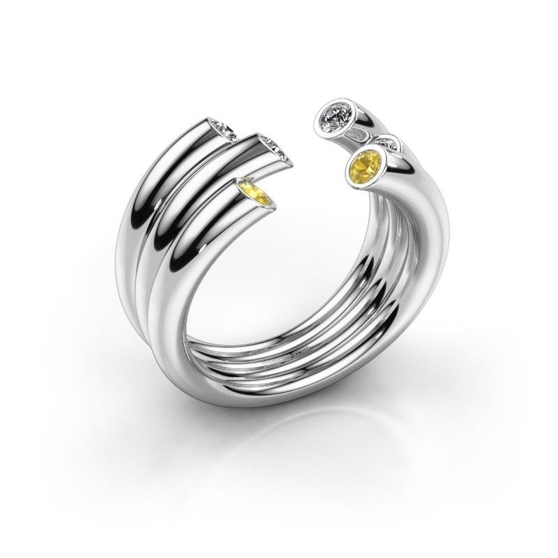 Ring Noelle 925 Silber Gelb Saphir 2.4 mm