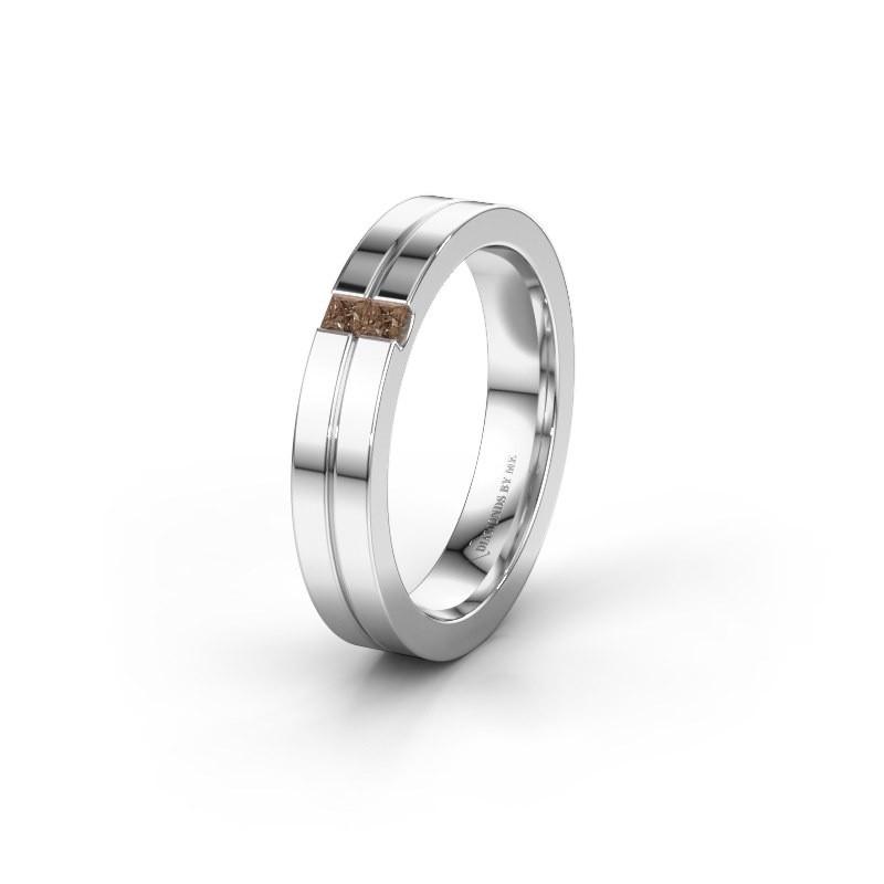 Trouwring WH0225L14B 950 platina bruine diamant ±4x2 mm
