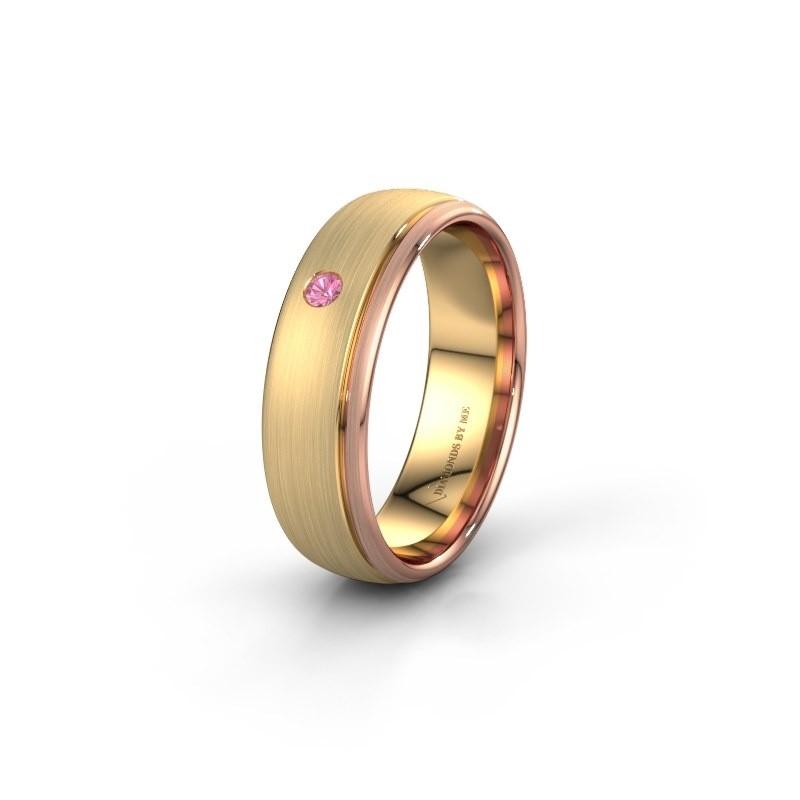 Trouwring WH0501L36AM 585 goud roze saffier ±6x1.7 mm