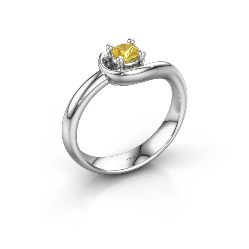 Ring Lot 585 Weißgold Gelb Saphir 4 mm
