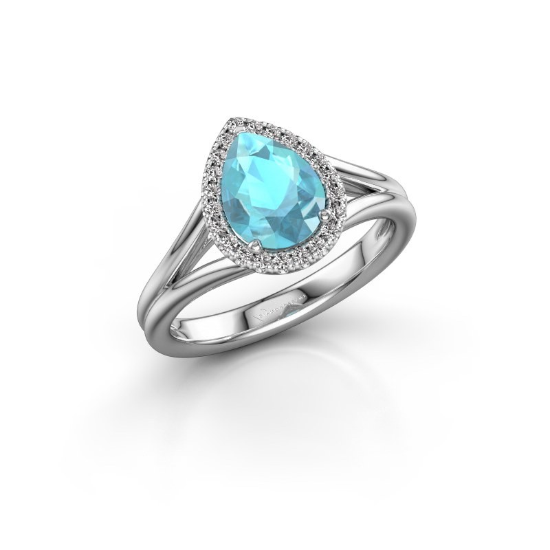 Verlovingsring Verla pear 1 950 platina blauw topaas 8x6 mm