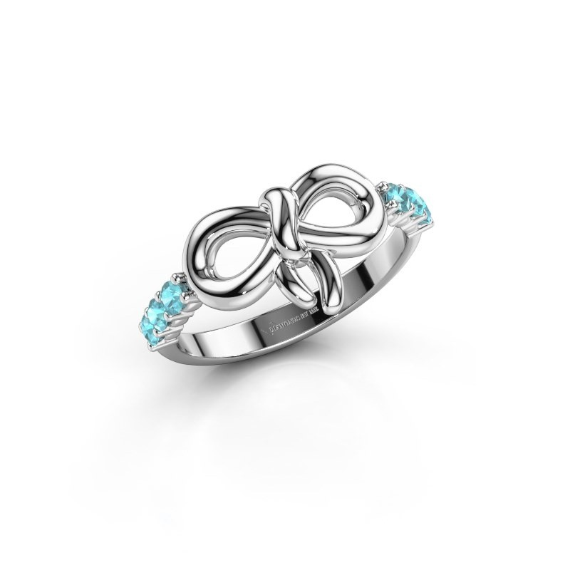 Ring Olympia 925 zilver blauw topaas 2.2 mm