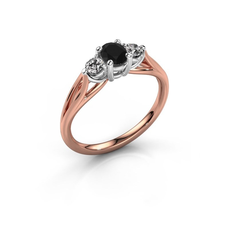 Verlovingsring Amie OVL 585 rosé goud zwarte diamant 1.16 crt