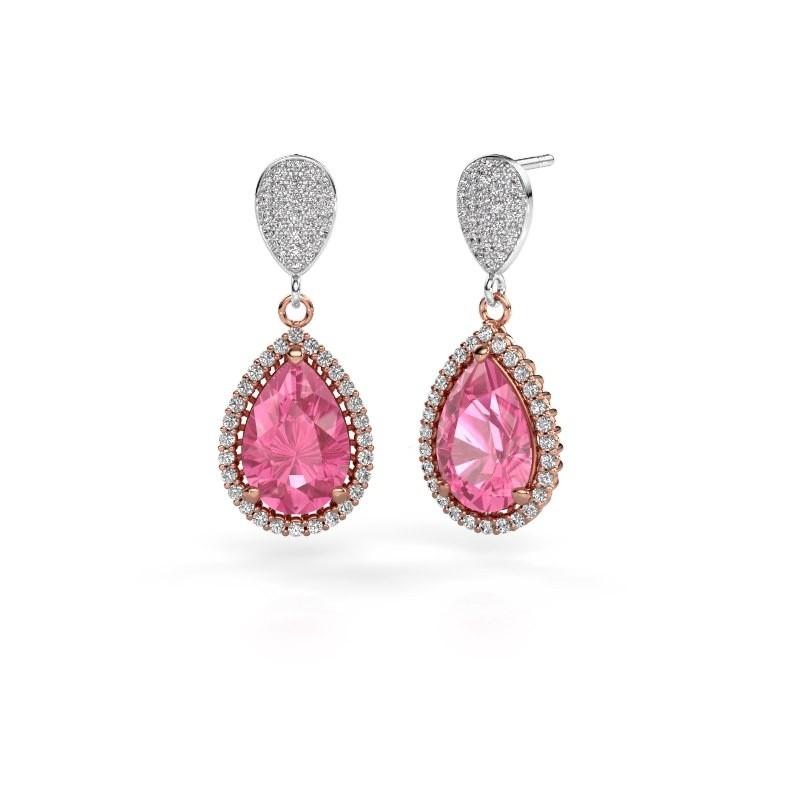 Drop earrings Cheree 2 585 rose gold pink sapphire 12x8 mm