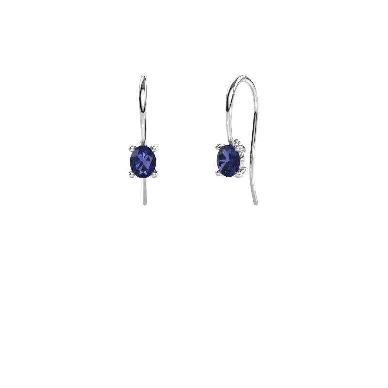 Drop earrings Cleo 950 platinum sapphire 6x4 mm