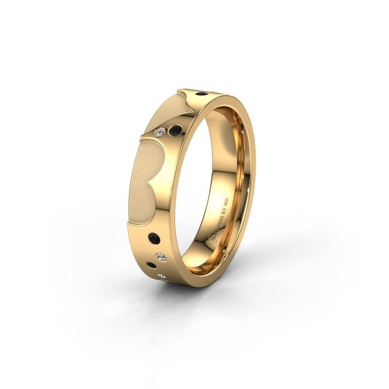 Trouwring WH2114L25A 585 goud zwarte diamant ±5x1.7 mm