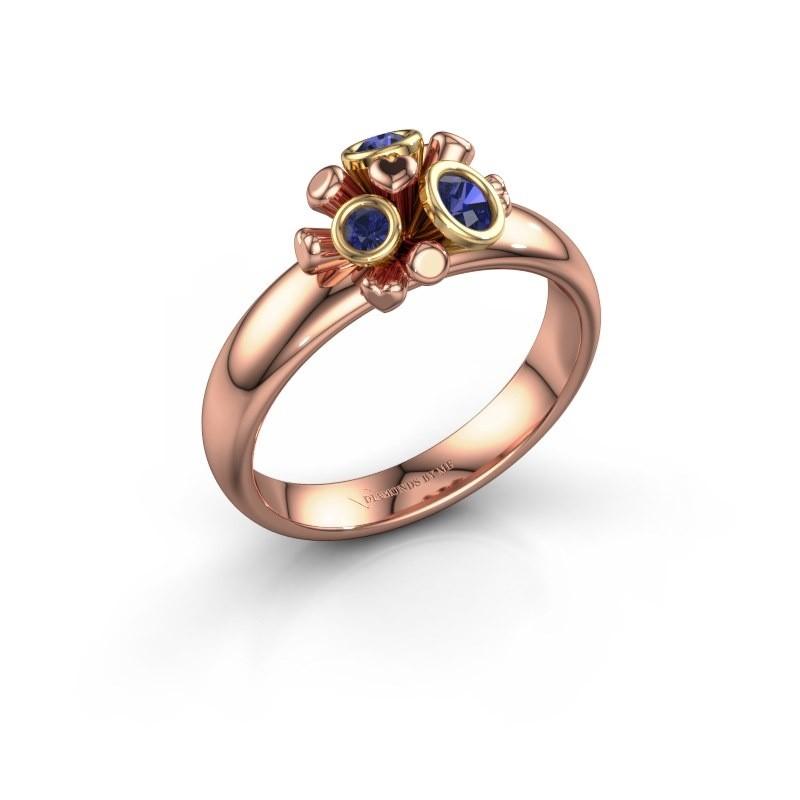 Ring Pameila 585 rosé goud saffier 2 mm