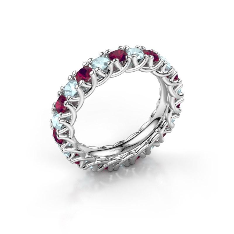 Ring Fenna 585 witgoud rhodoliet 3 mm