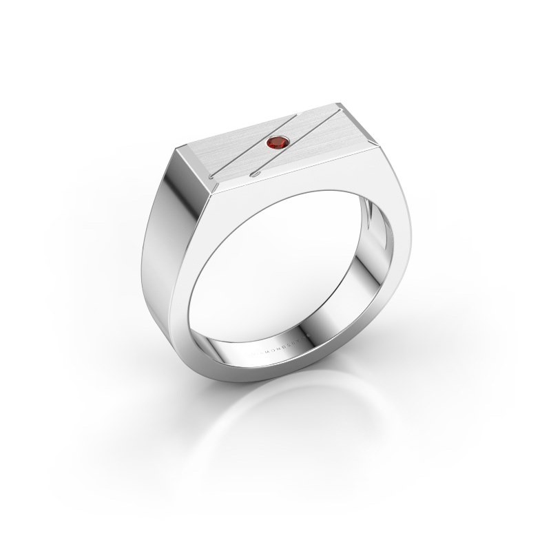 Men's ring Dree 3 585 white gold garnet 2 mm