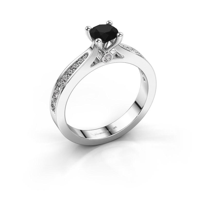 Engagement ring Evelien 585 white gold black diamond 0.80 crt