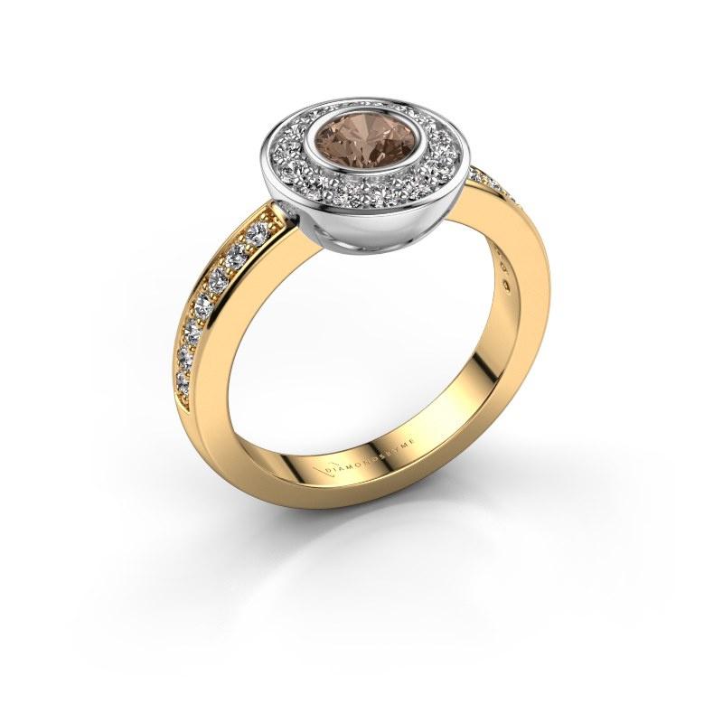 Bague Ivy 585 or jaune diamant brun 0.920 crt