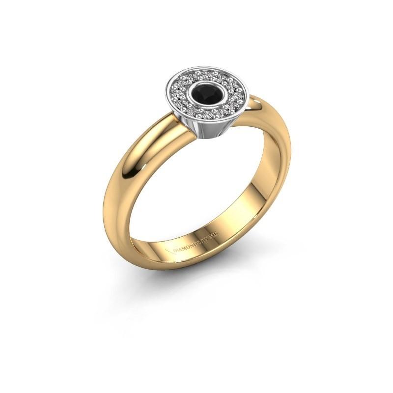 Bague Fiene 585 or jaune diamant noir 0.188 crt