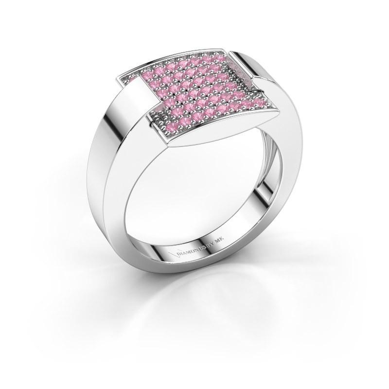 Ring Silke 585 witgoud roze saffier 1.2 mm