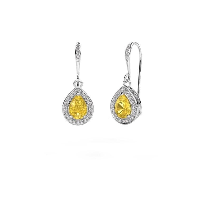 Drop earrings Beverlee 2 585 white gold yellow sapphire 7x5 mm