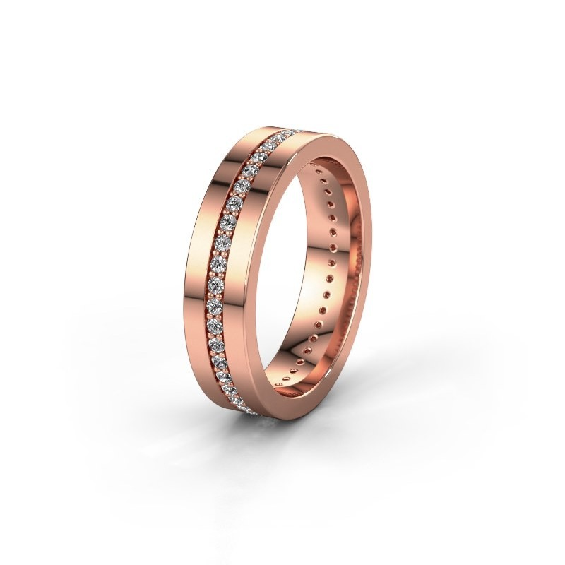 Trouwring WH0103L15BP 375 rosé goud diamant 0.44 crt ±5x2 mm