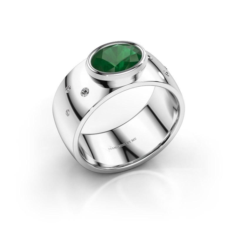 Ring Wilma 2 585 witgoud smaragd 8x6 mm