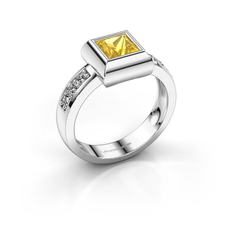 Ring Charlotte Square 925 Silber Gelb Saphir 5 mm