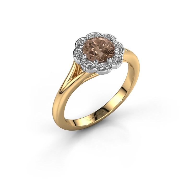 Aanzoeksring Claudine 585 goud bruine diamant 0.84 crt