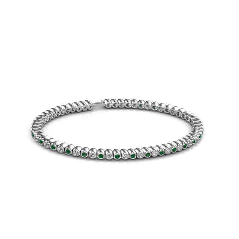 Tennisarmband Bianca 2 mm 585 witgoud smaragd 2 mm
