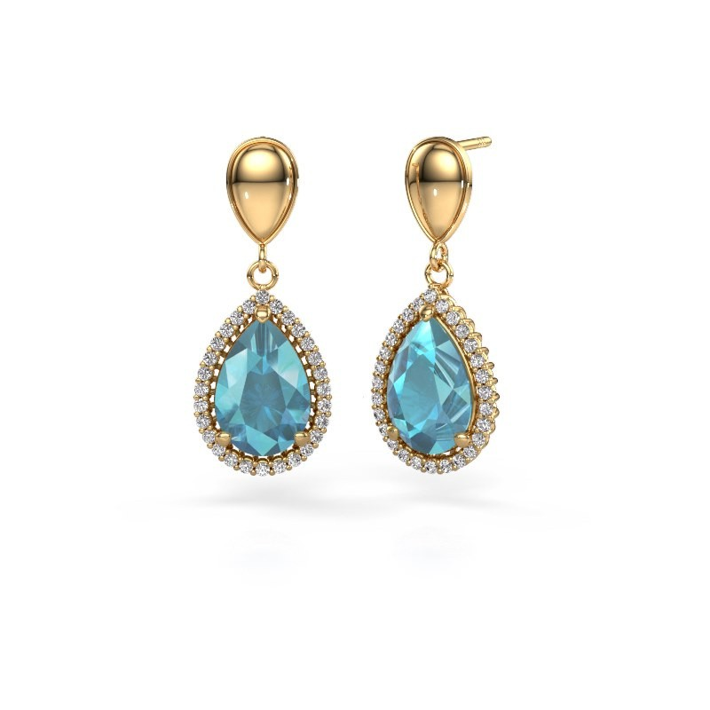 Pendants d'oreilles Tilly per 1 585 or jaune topaze bleue 12x8 mm