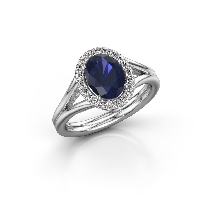 Engagement ring Rachele 1 925 silver sapphire 8x6 mm