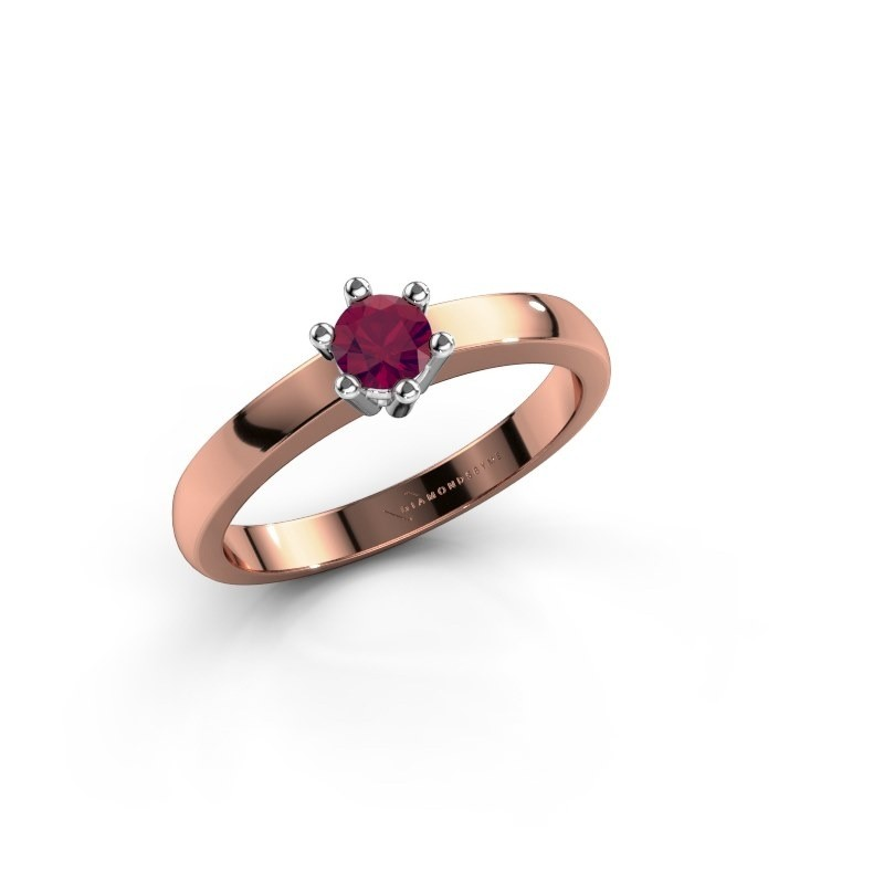 Verlovingsring Luna 1 585 rosé goud rhodoliet 3.7 mm