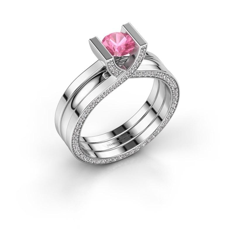 Ring Kenisha 925 silver pink sapphire 5 mm