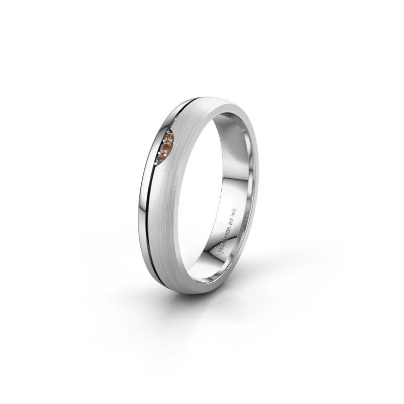 Trouwring WH0334L24X 925 zilver bruine diamant ±4x1.5 mm